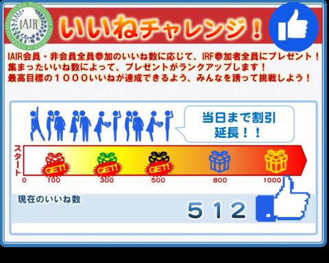 IRF2018inTOKYO開催まで31日!いいねチャレンジ500いいね達成!